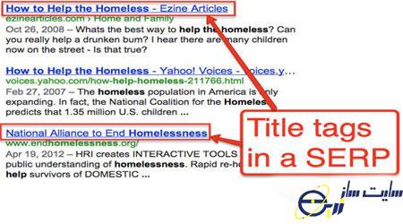 تگ عنوان از عومل درون صفحه از فاکتورهای رتبه بندی گوگل